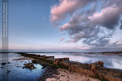 Pipeline (~Glen B~) Tags: pink blue sea sky beach water clouds reflections out coast big rocks dusk horizon shore ripples pipeline leading redcar tinged vosplusbellesphotos