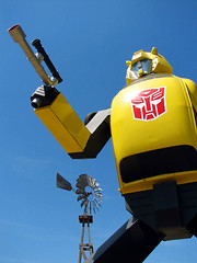Bumblebee Transformer - Highway 41, California (Vintage Roadside) Tags: california sculpture art windmill statue vw folkart transformer bumblebee roadsideattraction volkswagon centralcalifornia lemoore craptown highway41 vintageroadside craptownbigthing