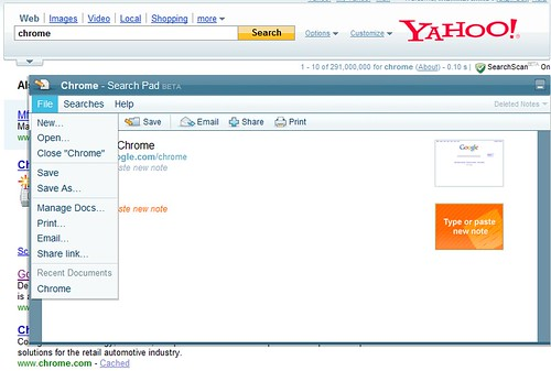 Yahoo Search pad in search results