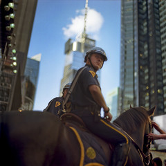 Pastel Police (vonSchnauzer) Tags: new york city nyc travel horses horse usa cloud 120 6x6 film america mediumformat square hands travels kodak helmet vincent police times saddle 160nc norita vonschnauzer