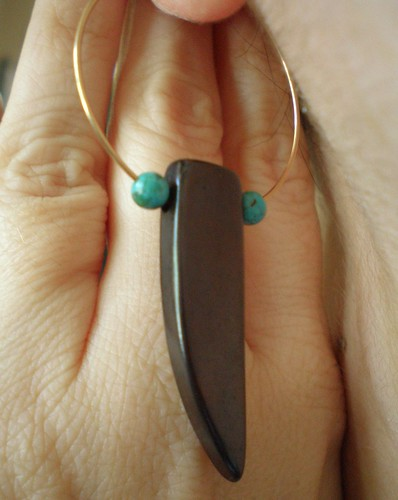 Horn and Turquoise Earrings