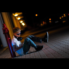 (Marcin Sowa) Tags: blue light portrait cars night hydrant iso800 glasses kid nikon shoes ipod dof bokeh brother parking flash perspective 85mm first philips jeans headphones 164 flashlight nikkor f18 boke rbk highiso cls reebok waterhose wideopen d300 17mm creativelightingsystem strobist strobists ipodtouch sb900