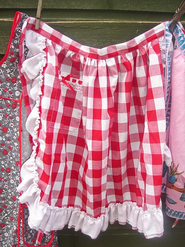 Red and white gingham frilly apron