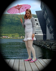 Pink umbrella () Tags: pink white vintage asian seaside outfit harbour gray sunny retro sunshade eastern pinkumbrella
