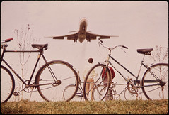 Jet Roars over Bicycle Path near Washington's Nation Airport. Noise-Decibel Level from Aircraft at This Altitude Can Cause Permanent Ear Damage. 11/1972 (The U.S. National Archives) Tags: arlington airplane virginia airport aircraft aviation bicycles airline boeing airlines americanairlines 1972 dca nationalairport aa 727 trijet environmentalprotectionagency b727 boeing727 threeholer ronaldreaganwashingtonnationalairport gravellypointpark kdca documerica usnationalarchives washnigtonnationalairport nara:arcid=544963 historyhappenshere