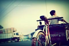 Waiting for Passenger (khaniv13) Tags: street people 35mm indonesia nikon waiting dof snapshot driver passenger f18 rickshaw afs becak centraljava pemalang d40x khaniv13