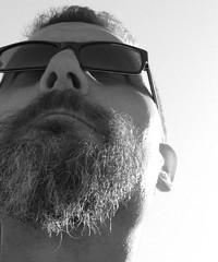 Berlin-Kreuzberg, April 2009 (Thomas Lautenschlag) Tags: portrait blackandwhite selfportrait male me sunglasses beard goatee shades selbstportrait sonnenbrille barbe barbu selbstauslser  barbouze thomaslautenschlag