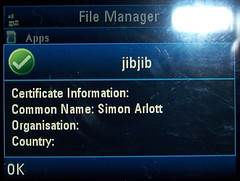 MIDlet certificate information