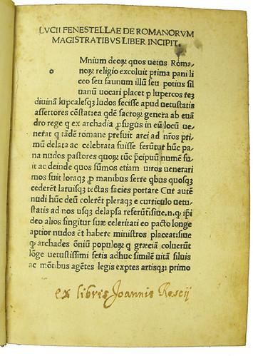 Page of text from Floccus, Andreas: De Romanorum magistratibus