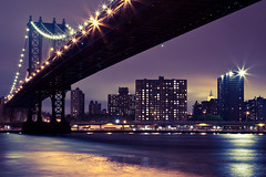 lite-bright ([Adam Baker]) Tags: new york city nyc longexposure bridge reflection water night canon long exposure manhattan dumbo eastriver empirestate portfolio starburst brooklynbridgepark 24105l adambaker 5dmarkii