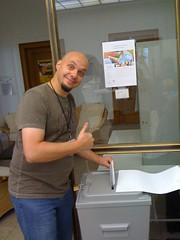 @Zellmi bei der Wahl (BarCamp Stuttgart 2 - #bcs2)