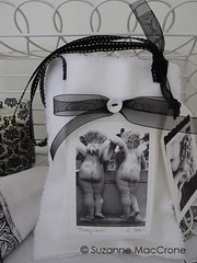 Booty Call, Twin Cherubs ~ Black & White Photograph Giclee Print Appliqued on Hand Made Cotton Gift Tote (Suzanne MacCrone Rogers ~ Italian Girl in Georgia) Tags: wedding baby white holiday black love girl cemetery stone gard