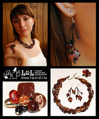 Chocolate (l_a_n_d_l) Tags: necklace beads handmade plastic fimo earrings bijouterie polimerclay