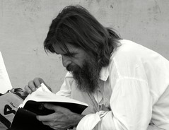 ...a sacred book scanning (The One Eyed Witness) Tags: weird prayer rasputin bohemian extrano bohemio predicador