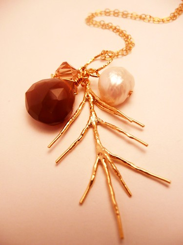 Mocha and Gold Pine Necklace