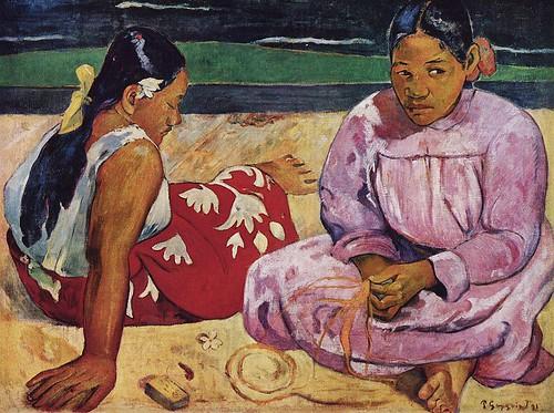 Mujeres de Tahití (En la playa), Es Un Cuadro del pintor Francés Paul Gauguin1891.  porción Carolina156
