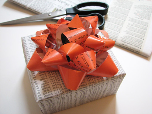 Gift bow made from a magazine page