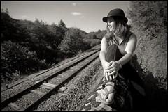 ..:: Train Fugit ::.. (Yoggibat) Tags: blackandwhite white black hat girlfriend noir noiretblanc rail tokina chapeau hippie uga blanc copine limousin hautevienne grandangle 1116 babacool voieferrée choups lasériedusamedi tokina1116mmf28atx monochromeaward rilhacrancon