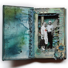 Project 52: Altered book inside (finnabair) Tags: flowers blue man black male love clock birds collage metal angel altered scrapbooking layout book 3d paint handmade lace mixedmedia stamp prima gears glimmer chipboard alcoholinks
