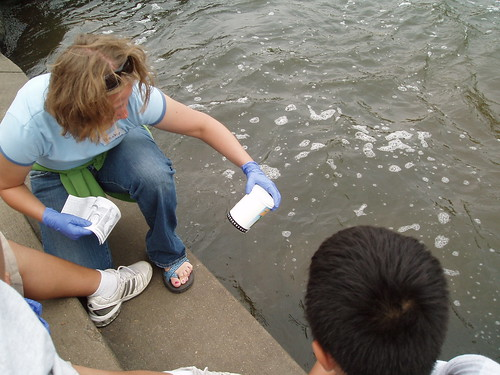 Students Testing Water on World Water Monitoring Day