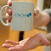 A CSCW mug from 1998 - the perfect thing to use for microwave chocolate cake!