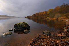Loch Rannoch. (stonefaction) Tags: autumn trees color colour fall leaves river landscape scotland scenery rocks gallery perthshire stormy burn loch lochrannoch faved