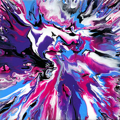 Fluid Colour Painting Blue Purple Pink (markchadwickart) Tags: pink blue white abstract black cold color colour art wet water colors painting square flow movement colorful paint artist acrylic colours purple mark vibrant spin violet experiment vivid move fluid oil flowing colourful liquid mixture 46 chadwick