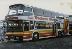 Trathens Skyliner.NEC 1984. (Woolfie Hills) Tags: show plymouth motor coventry nec neoplan rapide skyliner trathens