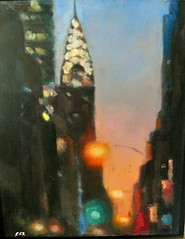 SL381684 (charlotte's place) Tags: new york city sunset building painting oil chrysler