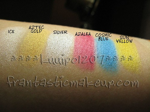 Ben Nye Lumiere eyeshadow swatches