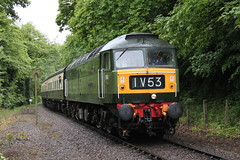 WSR Mixed traction weekend 2011 (Andrew Edkins) Tags: uk trees summer england rain train canon geotagged photography diesel somerset brush locomotive levelcrossing northstar westsomersetrailway preservedrailway class47 crowcombeheathfield d1661 twotonegreen roebuckcrossing