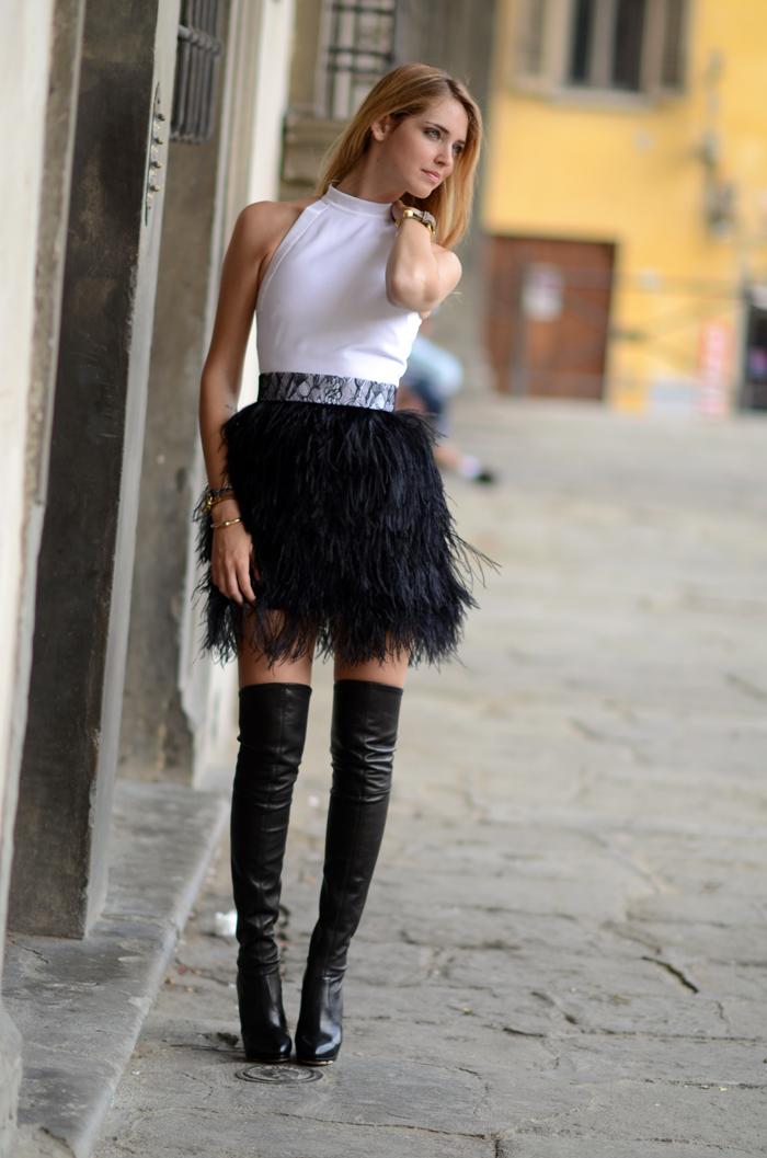 Chiara Ferragni And Casadei Black Leather Over The Knee