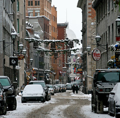 On the street... (rosy outlook photography) Tags: street snow shopping walking montreal oldmontreal steakfrites ruestpaul bej citrit iboughtahatwithearflapsandmittstomatch theresachurchwhereveryoulook