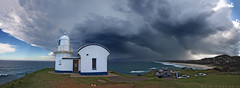 Flock To The Storm (Mark-of-Cain) Tags: panorama lighthouse storm clouds stitch australia nsw portmacquarie tackingpoint lighthousetrek australiathunderstorms