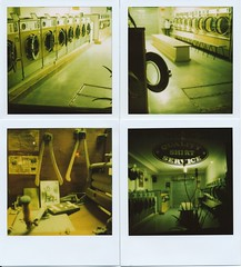 Late Night Laundromat Blues In Green (Lady Vervaine) Tags: street city uk longexposure england urban green london film night polaroid sx70 quiet silent britain cleaners cleaning laundry silence 600 multiple washingmachine laundromat hopper washing launderette drycleaners edwardhopper polaroidsx70 londonist quadriptych