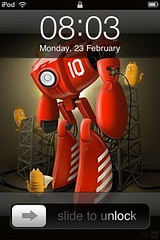 new ipod touch wallpaper (screenshot) (cchana) Tags: wallpaper clock apple robot graphic time drawing background illustrator date unlock iphone homescreen ipodtouch