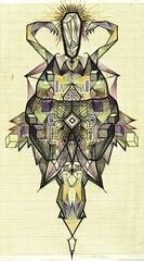 scarab (J U D Y G O R E L A N D) Tags: green geometric bug 3d triangle crystal geometry beetle egypt symmetry cube sacred quartz scarab stagbeetle graphpaper goreland judygoreland