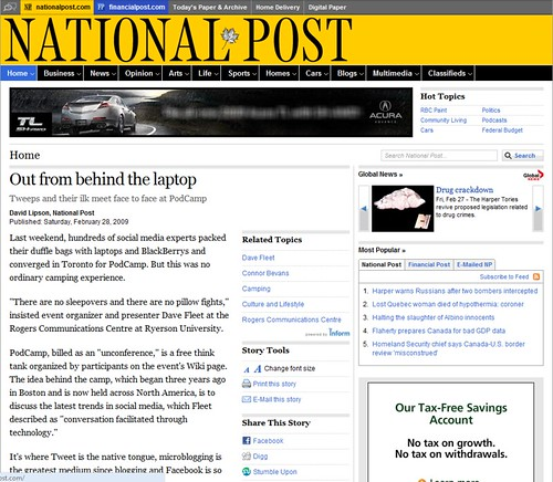 National Post Covers PodCamp Toronto