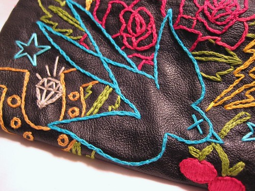 You a Lucky Bird- hand embroidered clutch