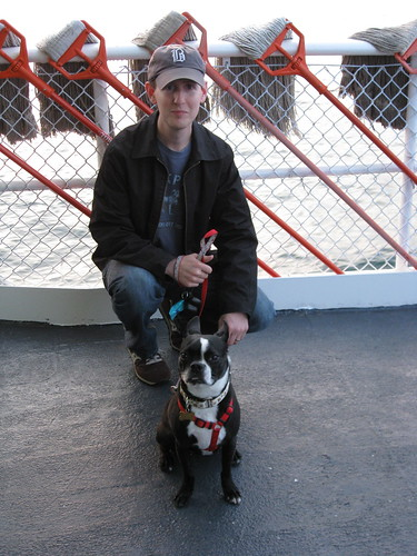 Me and Gatsby on the Cross Sound Ferry, along with the deck mops