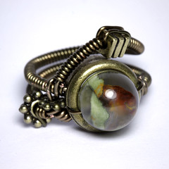 Steampunk Jewerly - Steampunk Ring with Rainforest Jasper (Catherinette Rings Steampunk) Tags: fiction canada fashion metal stone wire punk artist industrial mechanical natural quebec designer handmade montreal daniel alien victorian wrapped jewelry science bijoux retro steam ring jewellery rings fantasy precious copper scifi organic etsy artisan geekery steampunk neovictorian futurist proulx catherinetterings danielproulx