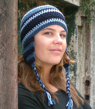 Ribbed Ear Flap Hat w/ Pom Poms! - CROCHET