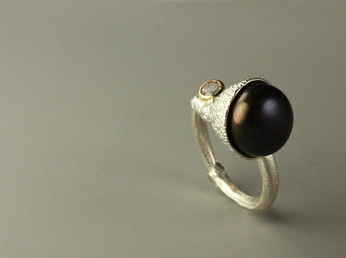 Black Pearl and White Sapphire Ring