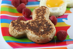 Cinnamon-Oat Pancakes & Mickey Mouse Eggs