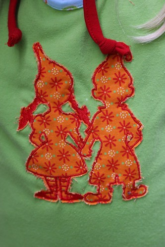 close up of gnome embroidery