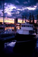 light sunset reflection clouds dusk fishingboat yatch goldcoastseaway
