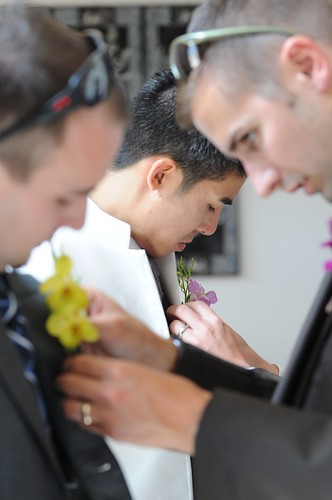 Boys get their boutonnieres from Sebesta