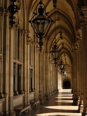 Vienna - Rathaus (Harshil.Shah) Tags: vienna wien city lights hall gothic columns arches walkway lanterns passage rathaus ringstrasse