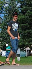 02aug09006 (buzzchap) Tags: park summer man hot cute sexy male men guy jock outdoors belt big masculine sandals gorgeous handsome hunk dude shorts earrings stud hunky braghettoni
