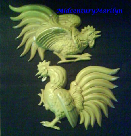 Vintage Hoda Metal Fighting Cocks Roosters 60's/70's Wall Decor Rare Green